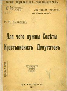 Быховский Н.Я. Для чего нужны Советы крестьянских депутатов. Царицын, 1917